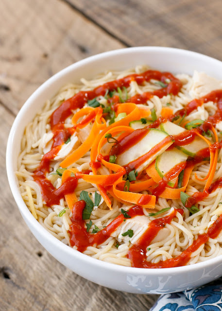 Sweet and Sour Noodle Bowls are a quick and easy dinner that everyone loves! get the recipe at barefeetinthekitchen.com