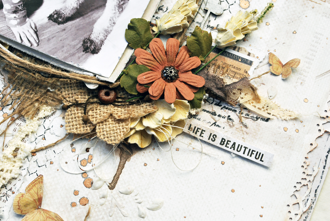 Life is beautiful vintage artistry collection with shona to add layers behind the photo i added in burlap ribbon and pieces from ephemera cut out sheet i just love these cut out sheets in the collectionsit makes izmirmasajfo Gallery