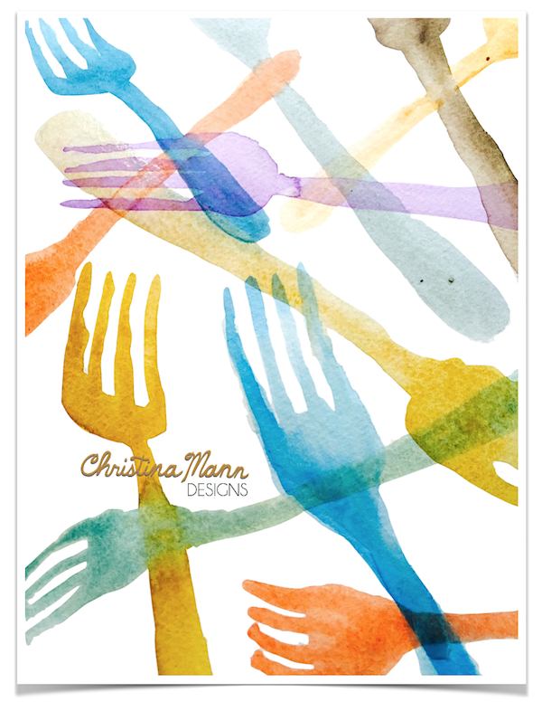 Watercolor Fork Shadows by Christina Mann Designs