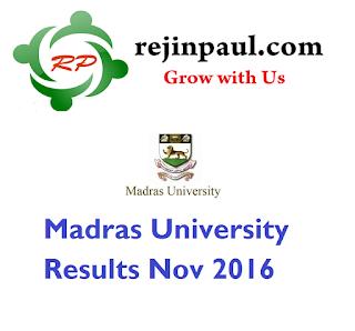 Madras University Results Nov 2016 UG PG  unom.ac.in