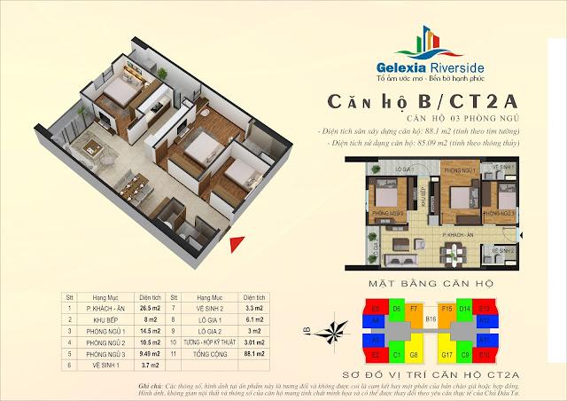 Thiết kế căn hộ B - 3 phòng ngủ tòa CT2A Gelexia Riverside