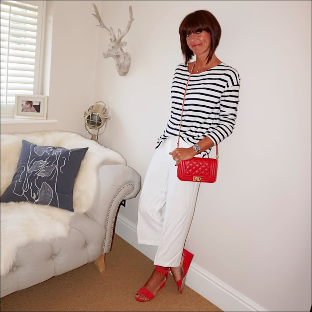 My Midlife Fashion, j crew breton top, ebay red quilted leather across body bag, marks and specer cropped cream culottes, j crew woven wedge sandals