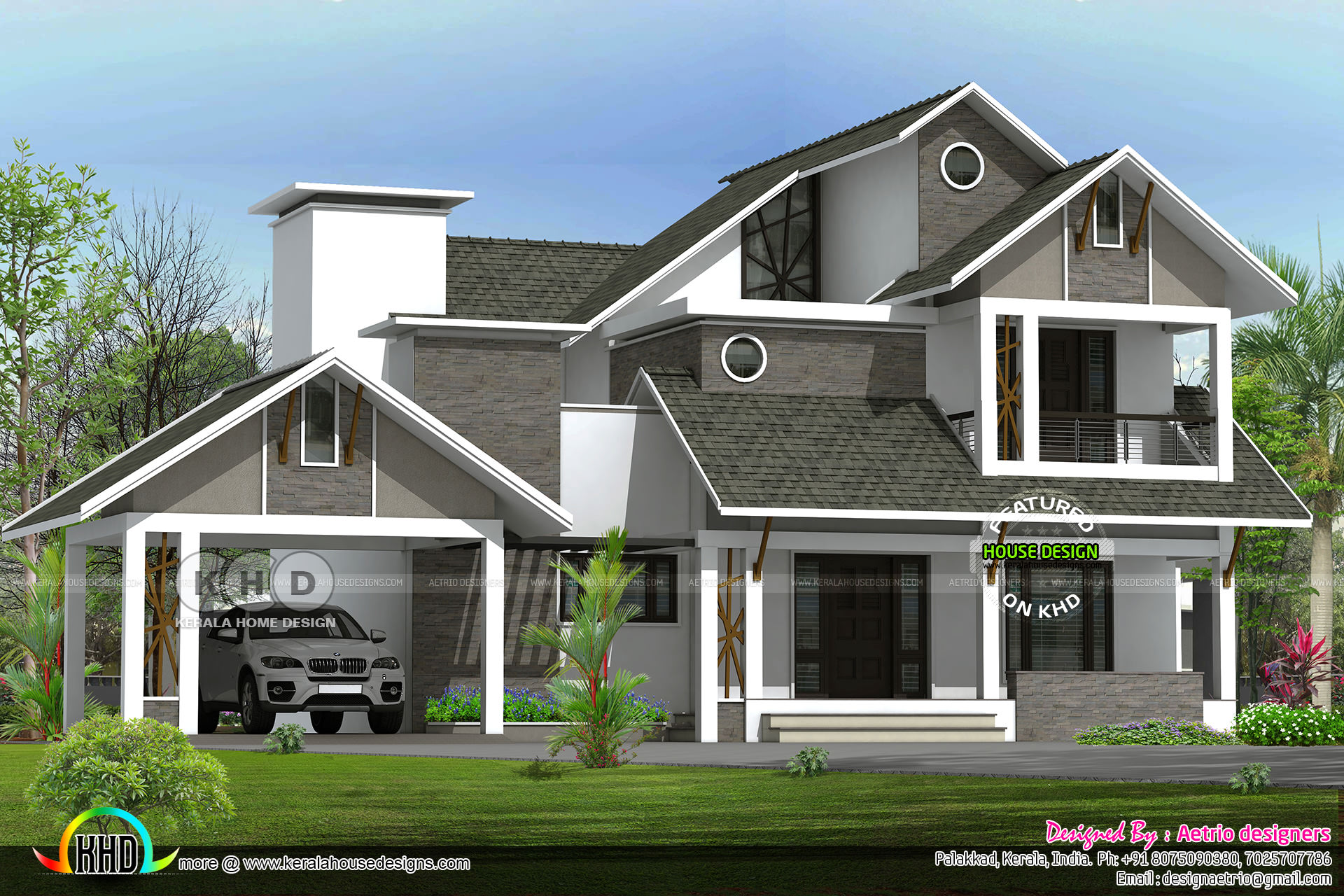 2550 Square Feet 4 Bedroom Sloping Roof Home Kerala Home Design Bloglovin
