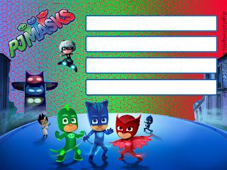 Para hacer invitaciones, tarjetas, marcos de fotos o etiquetas, para imprimir gratis de Super héroes en Pijamas.