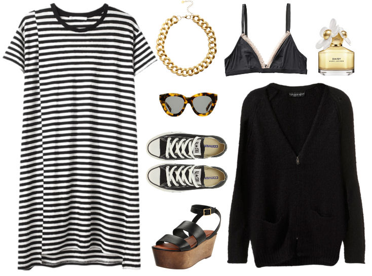 striped tee dress outfit