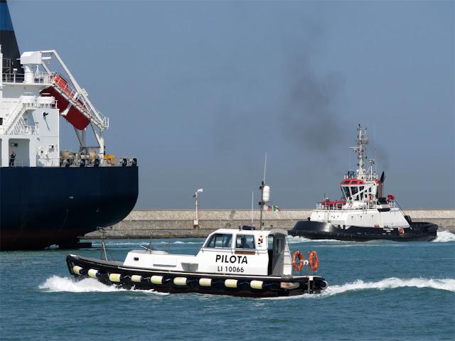 Tanker Palanca Muscat IMO 9659672, tug Fratelli Neri IMO 9393125, port of Livorno
