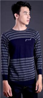 Sweater Cowok Motif Garis Original GARSEL