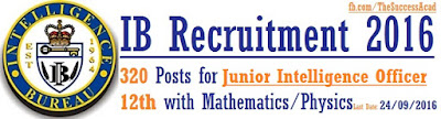 IB Recruitment 2016 320 Junior Intelligence Officer