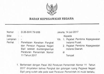 Penetapan Kenaikan Pangakat dan Pensiunan Pegawai Negeri Sipil Otomatis (BKN D.26-30/V.79-5/99)