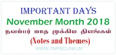 Important Days in November 2018 (Notes & Theme)