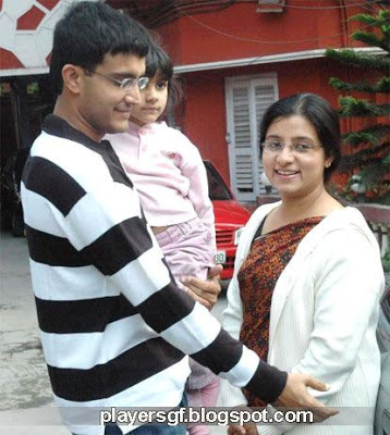 Sourav Chandidas Ganguly and his wife Dona Ganguly with their girl
