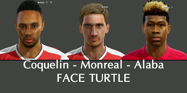 PES 2013 Coquelin, Monreal, Alaba face by Turtle Facemaker