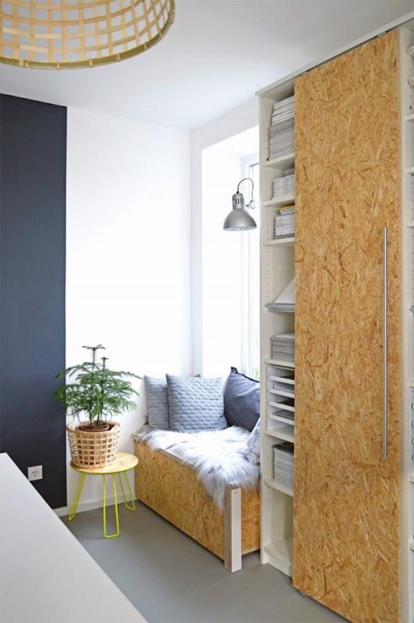 estantería, armario, con puertas de osb