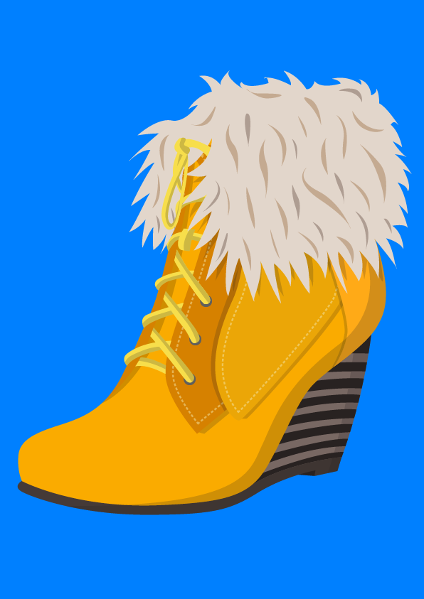 Mustard wedge boots - Jen Haugan animation