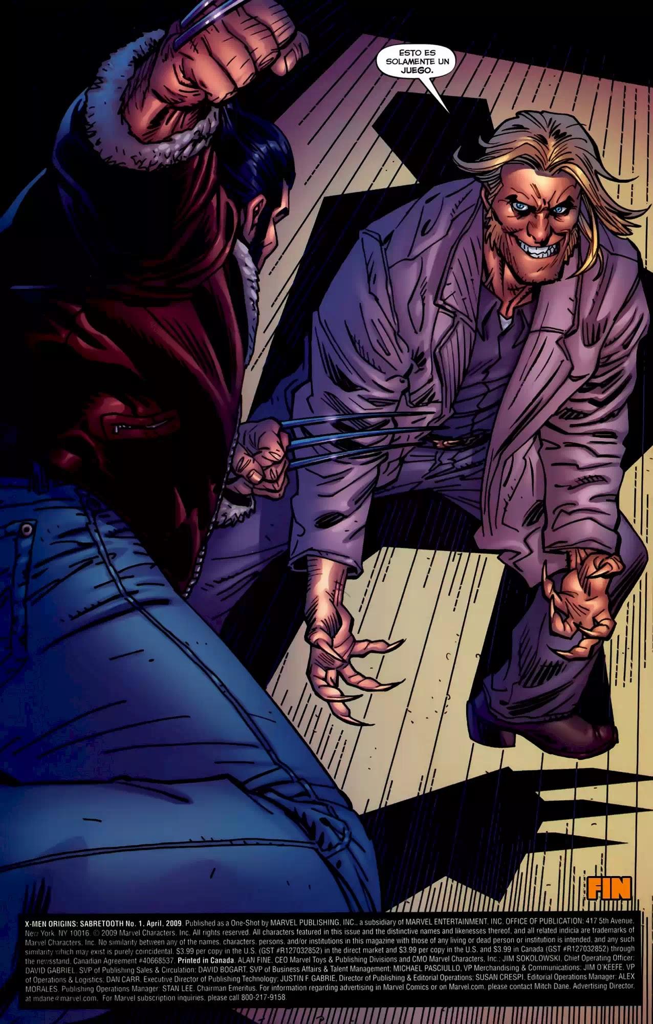 X-MEN ORIGINS: SABRETOOTH X Men Origins Sabretooth Comic