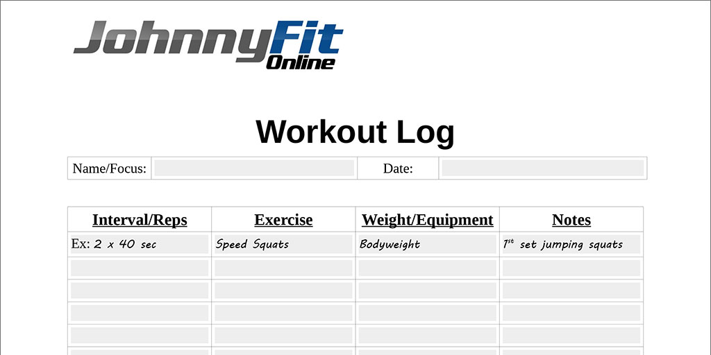 Workouts log templates printable in PDF - Excel Template - log template
