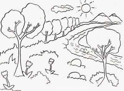 Sketsa Gambar Mewarnai Pemandangan Anak Tk Forumku
