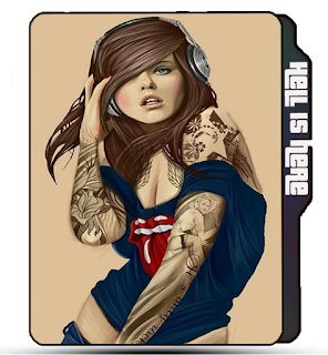 Preview of artist girls icons, blue shirt, tattoo girl, music, pose, photoshoot