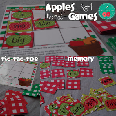 Sight Words Games - apple theme tic-tac-toe and memory