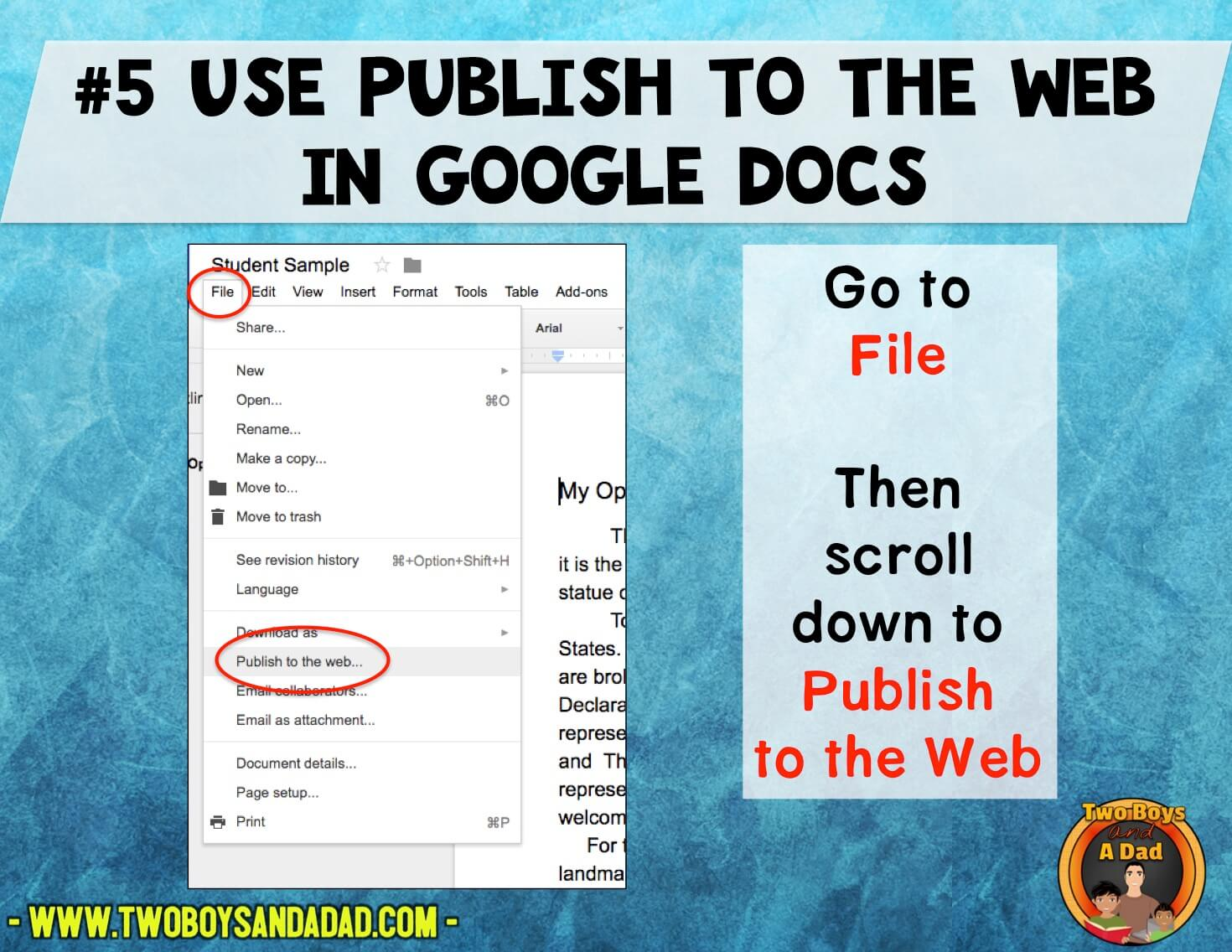Use publish to the web