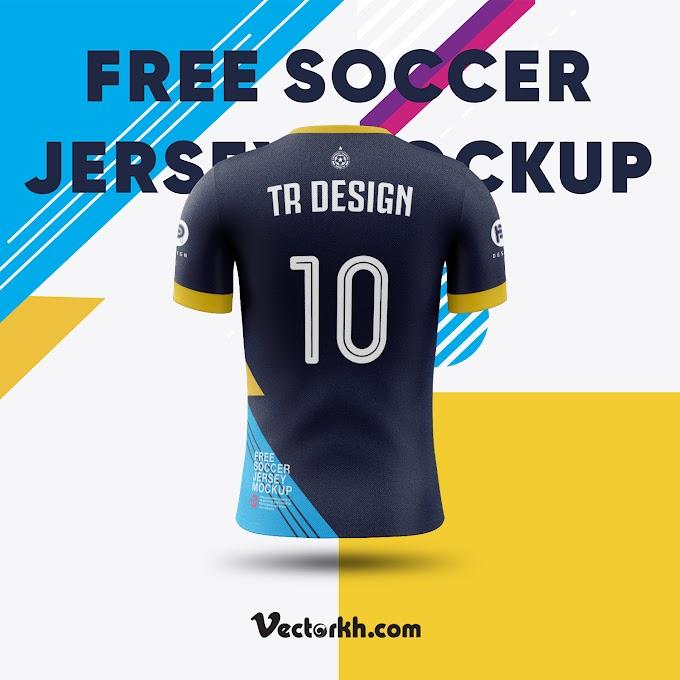shirt mockup Soccer Jersey Mockup (Back View) free vector 02