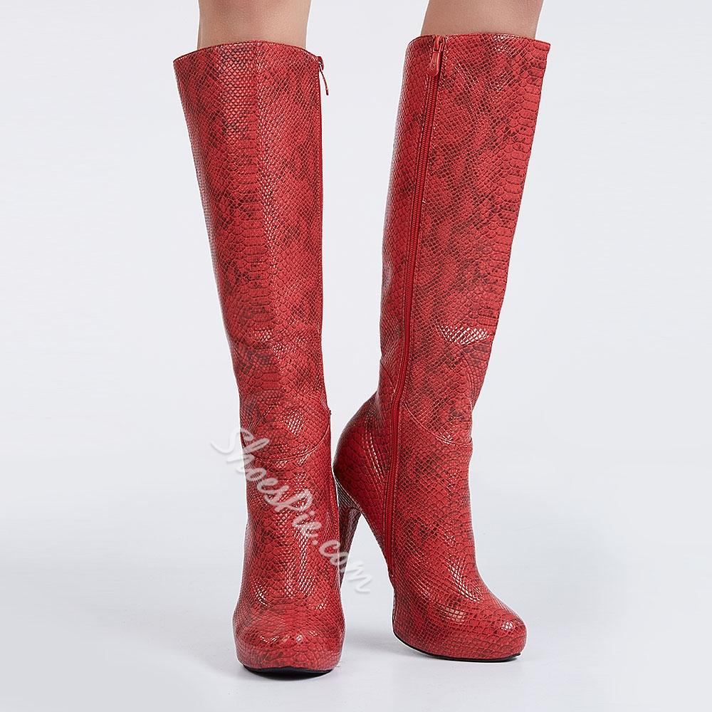 Shoespie Snake Pattern Stiletto Heel Knee High Boots