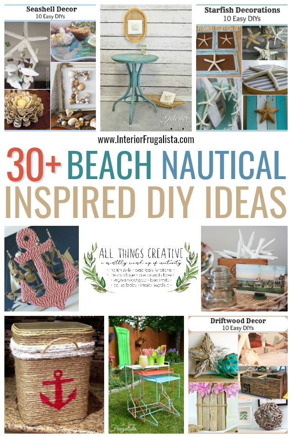 A fabulous curated collection of over thirty beach and nautical DIY ideas for summer by a group of talented bloggers in the All Things Creative Group. #diysummer #beachideasDIY #nauticalideasDIY