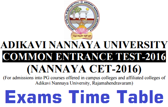 NANNAYACET 2016,Exams time table,AKNUCT 2016