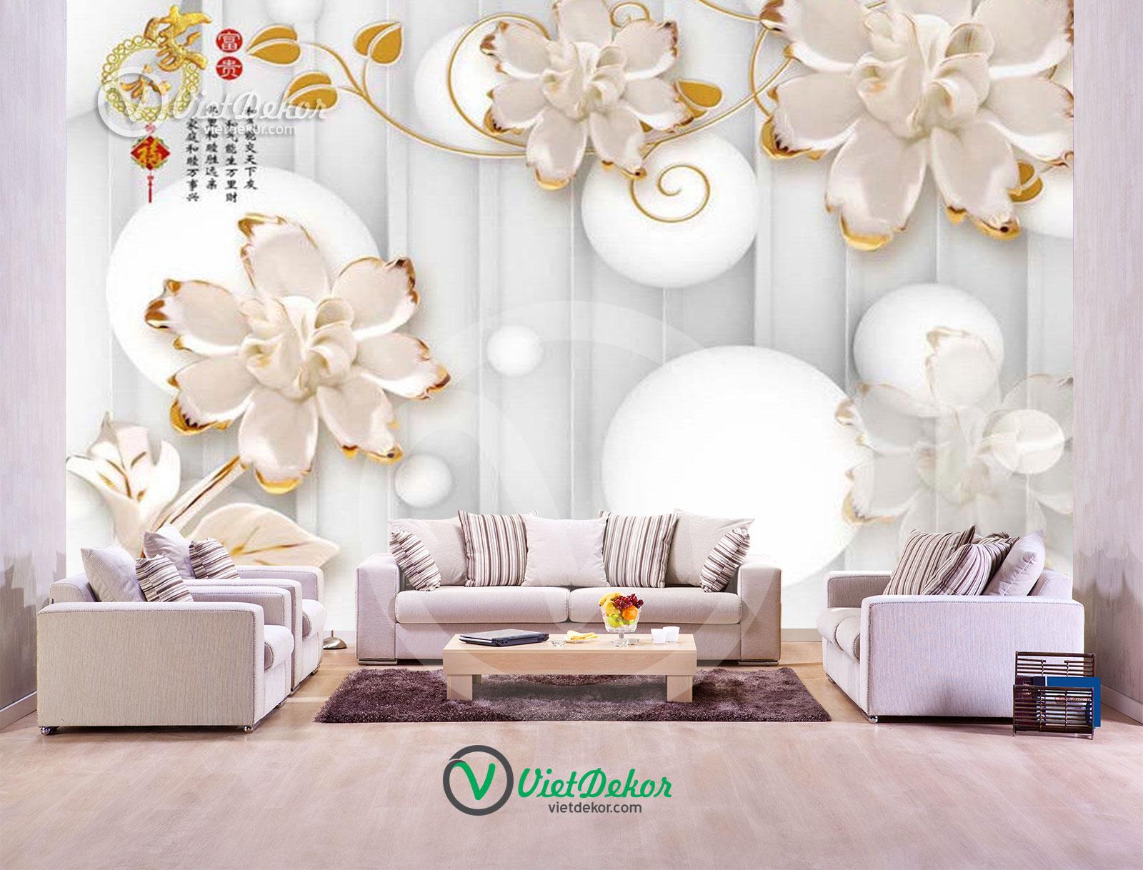 Tranh dán tường 3d hoa trang sức phòng ngủ