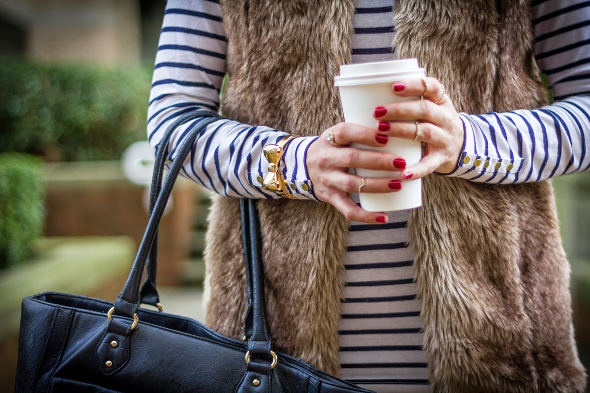 how to wear stripes and fur