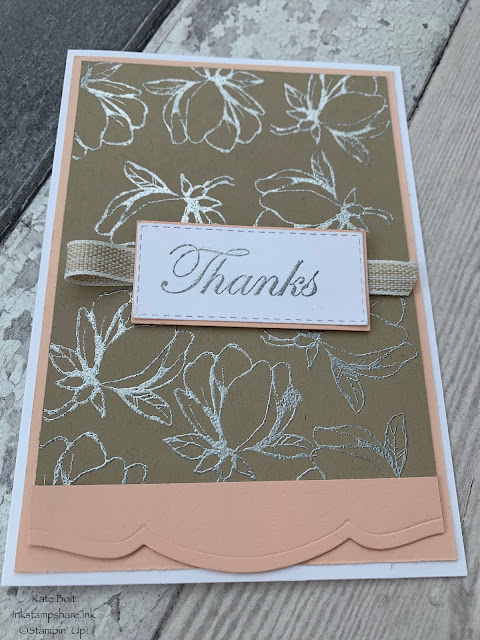 Good Morning Magnolia . Wedding acceptance card. Silver embossed magnolias on crumb cake