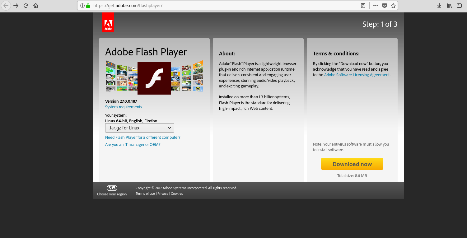 First of all go to this site and download tar.gz for other linux  .https://get.adobe.com/flashplayer/