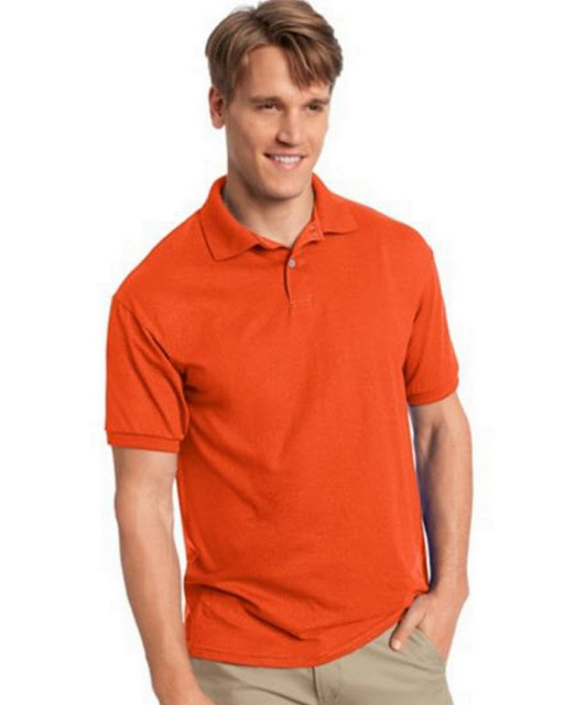 Hanes 054X Mens Comfortblend Jersey Polo -Orange – XL