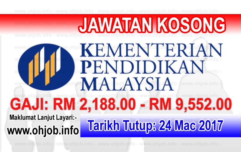 Jawatan Kerja Kosong KPM - Kementerian Pendidikan Malaysia logo www.ohjob.info mac 2017