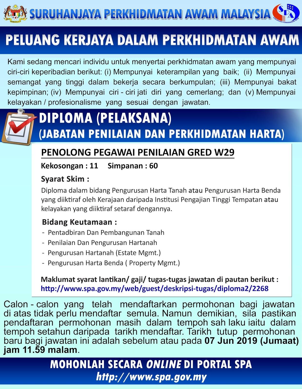 Iklan Jawatan Kosong Jabatan Penilaian Dan Perkhidmatan Harta Jpph 7 Jun 2019 Ekerjaa