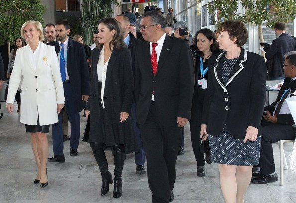Queen Letizia wore wool blend long belted double breasted coat,and black blazer, Adolfo Dominguez long boots