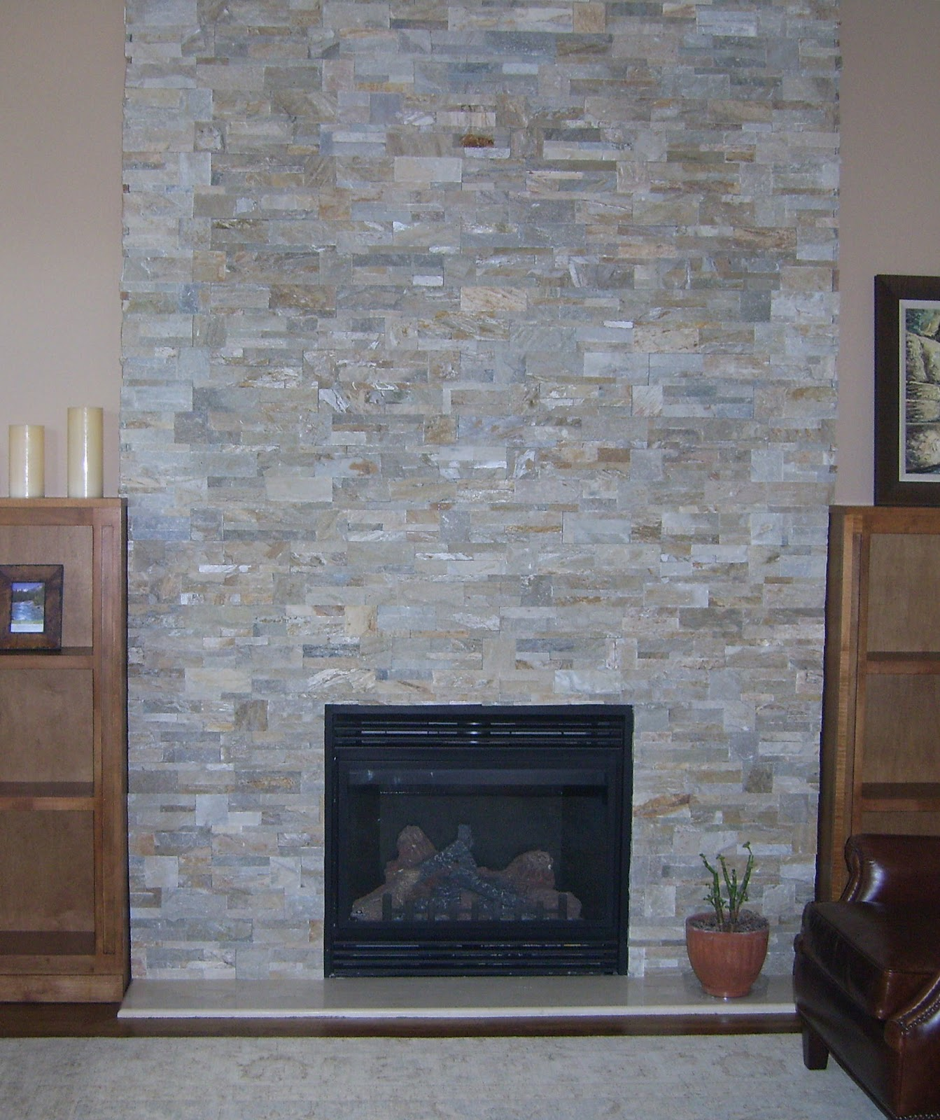 Tobi brockway interiors fireplace facades and more - Covering brick fireplace with tile ...