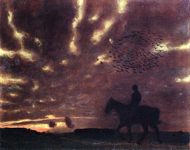 a Franz von Stuck painting of a dark rider with birds