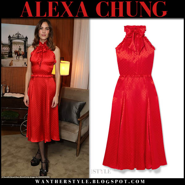 Alexa Chung in red sleeveless high neck silk midi dress holiday party celebrity style november 22