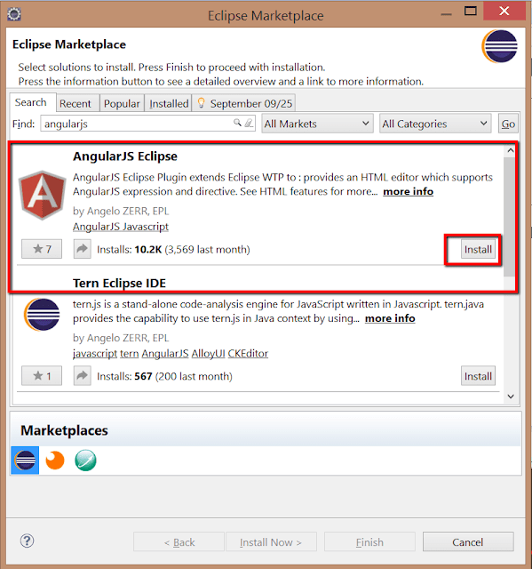Install AngularJS plugin Eclipse