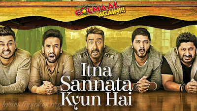 Itna Sannata Kyun Hai Lyrics From Golmaal Again (2017) - The song is sung by Amit Mishra & Aditi Singh Sharma and has music by Lijo George & DJ Chetas while lyrics are penned by Kumaar. The movie stars Ajay Devgn, Parineeti Chopra, Arshad Warsi, Tusshar Kapoor, Shreyas Talpade and Kunal Kemmu.  Song Details   Song Title: Itna Sannata Kyun Hai Singer: Amit Mishra & Aditi Singh Sharma Music: Lijo George – DJ Chetas Lyrics: Kumaar Film Directed by: Rohit Shetty Release date: 20th October 2017 Music Label: T-Series
