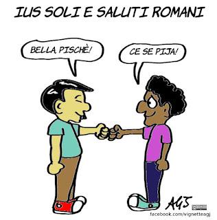 saluti romani, ius soli, integrazione, nati in italia, vignetta, satira