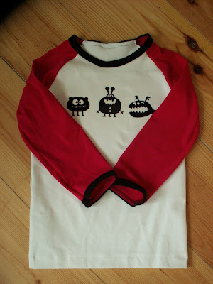 Raglan Shirt, Monsters, Pink, White