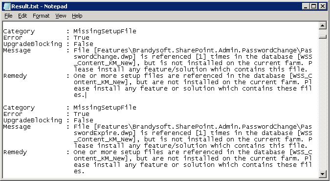 sharepoint test-spcontentdatabase missingsetupfile