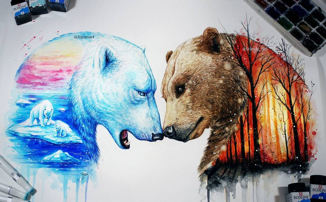 03-Brown-Bear-and-Polar-Bear-Jonna-Lamminaho-Mixed-Media-Animal-Paintings-www-designstack-co