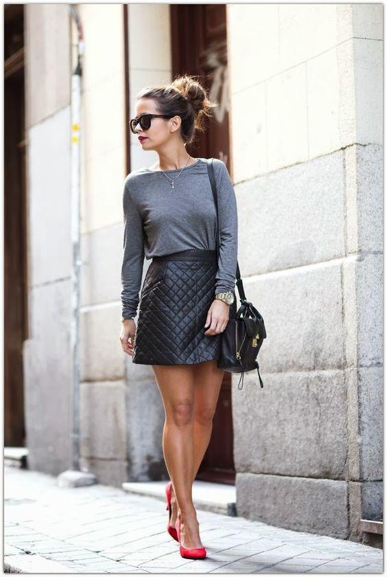 Resultado de imagem para imagens de saia de couro  como usar moda 2016