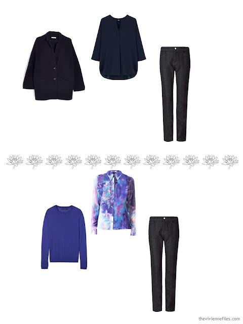 2 ways to wear dark wash jeans in a 4 by 4 Wardrobe