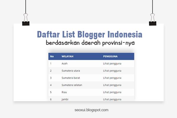 Daftar List Penulis Blogger di Seluruh Indonesia Berdasarkan Provinsi Wilayahnya