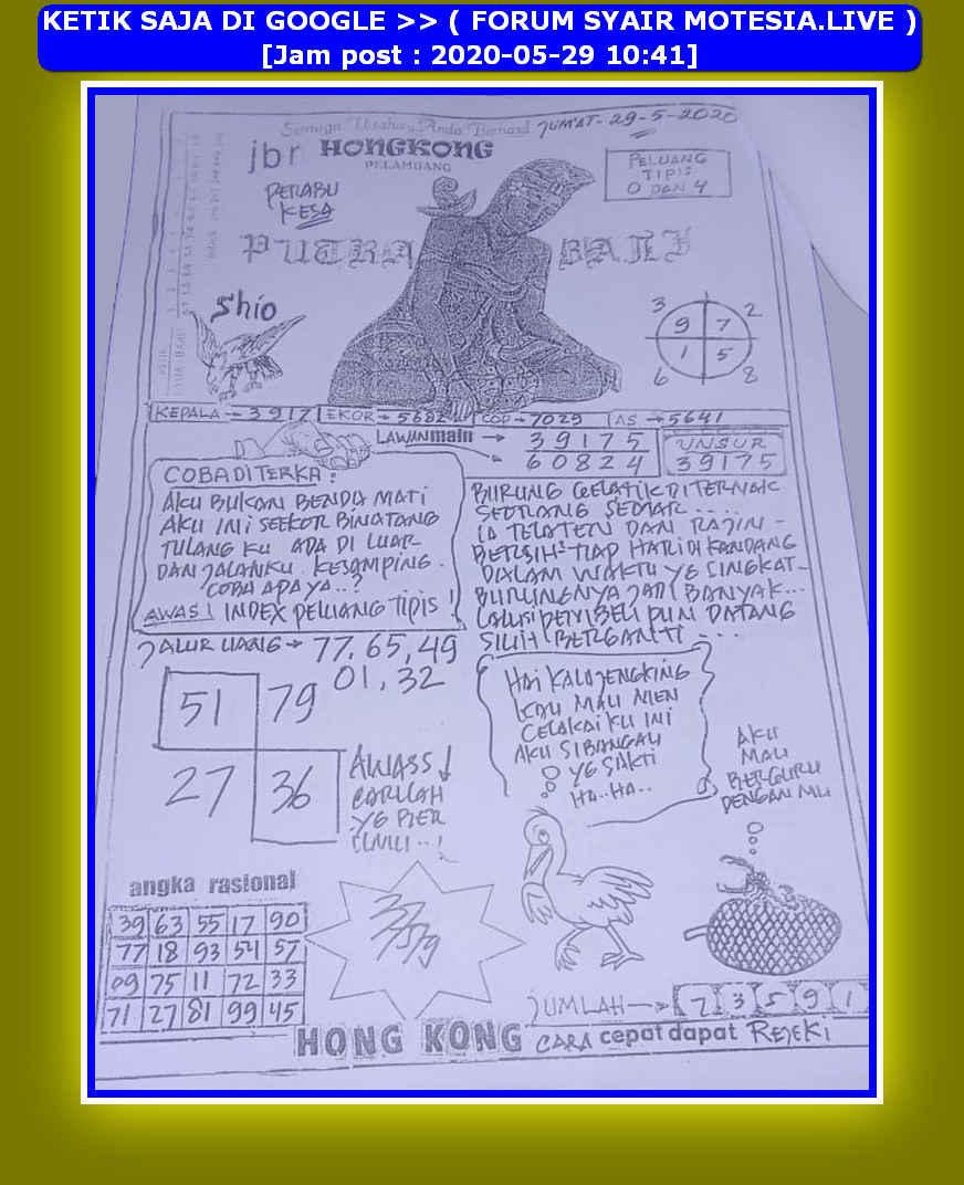 Kode syair Hongkong Jumat 29 Mei 2020 9