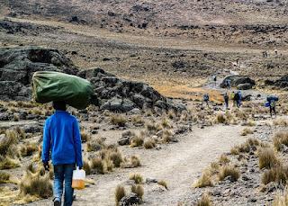 Climbing a mountain in Kenya